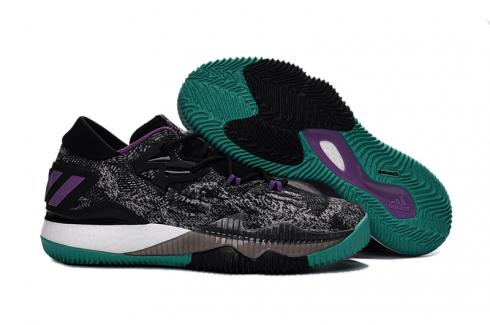 Adidas Crazy Light Boost 2.5 Low Men Basketball Shoes Black Purple Green
