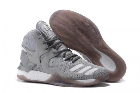 Adidas D Rose 7 Rose Men Basketball Shoes Grey White