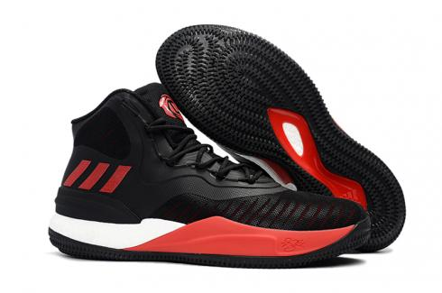 Adidas D Rose 8 Rose Flyknit Men Basketball Shoes Black Red White