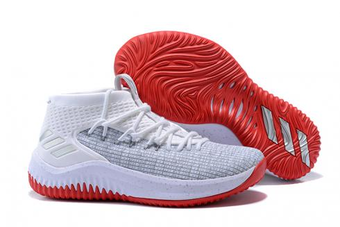 Adidas Dame 4 D Lillard Basketball Shoes Light Grey White Red BY3780
