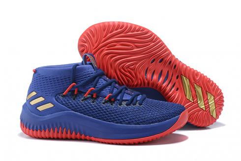 Adidas Dame 4 D Lillard Basketball Shoes Royal Blue Red BY3780