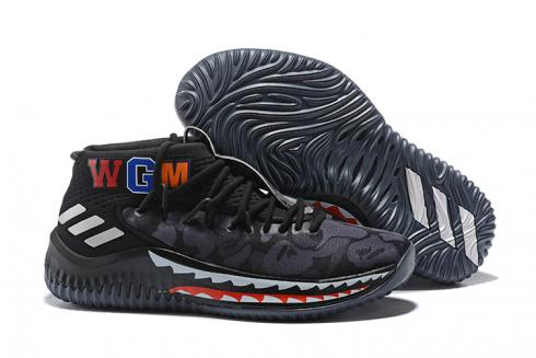 Bape X Adidas Dame 4 D Lillard Basketball Shoes Camo Black
