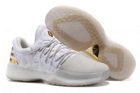 Adidas Harden Vol 1 Men Basketball Shoes Limited Edition White Gold Hot