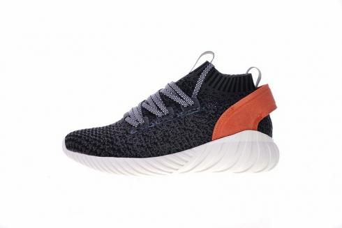 Adidas Tubular Doom Sock Primeknit Shoes Dark Grey White Orange CQ2485