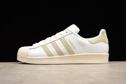 Adidas Originals Superstar White Green Pink Shell Toe Leather BB2142