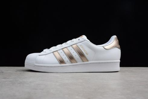 Adidas Superstar White Rose Gold Leather Shoes BB1428