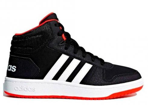 Adidas HOOPS 2 MID Black White Gym Red Womens Shoes Kids B75743