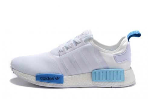 Adidas NMD R1 Femme Pas Cher Runner Blanc Blue Glow S75235