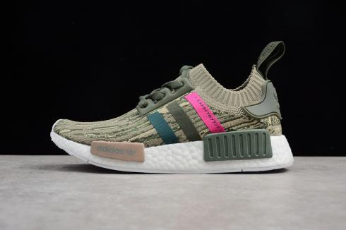 Adidas NMD R1 Primeknit PK Camo Japan Green Pink Shoes BY9864