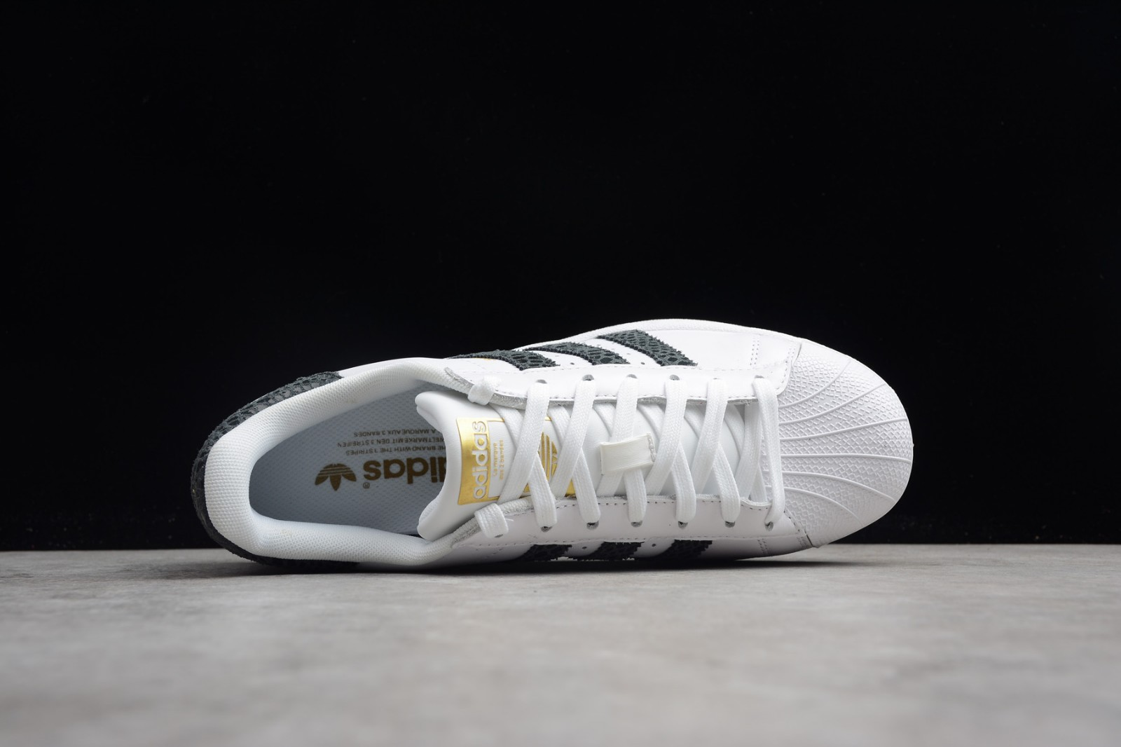 Adidas Originals Superstar Snake Stripes White Black Metallic Gold S79418
