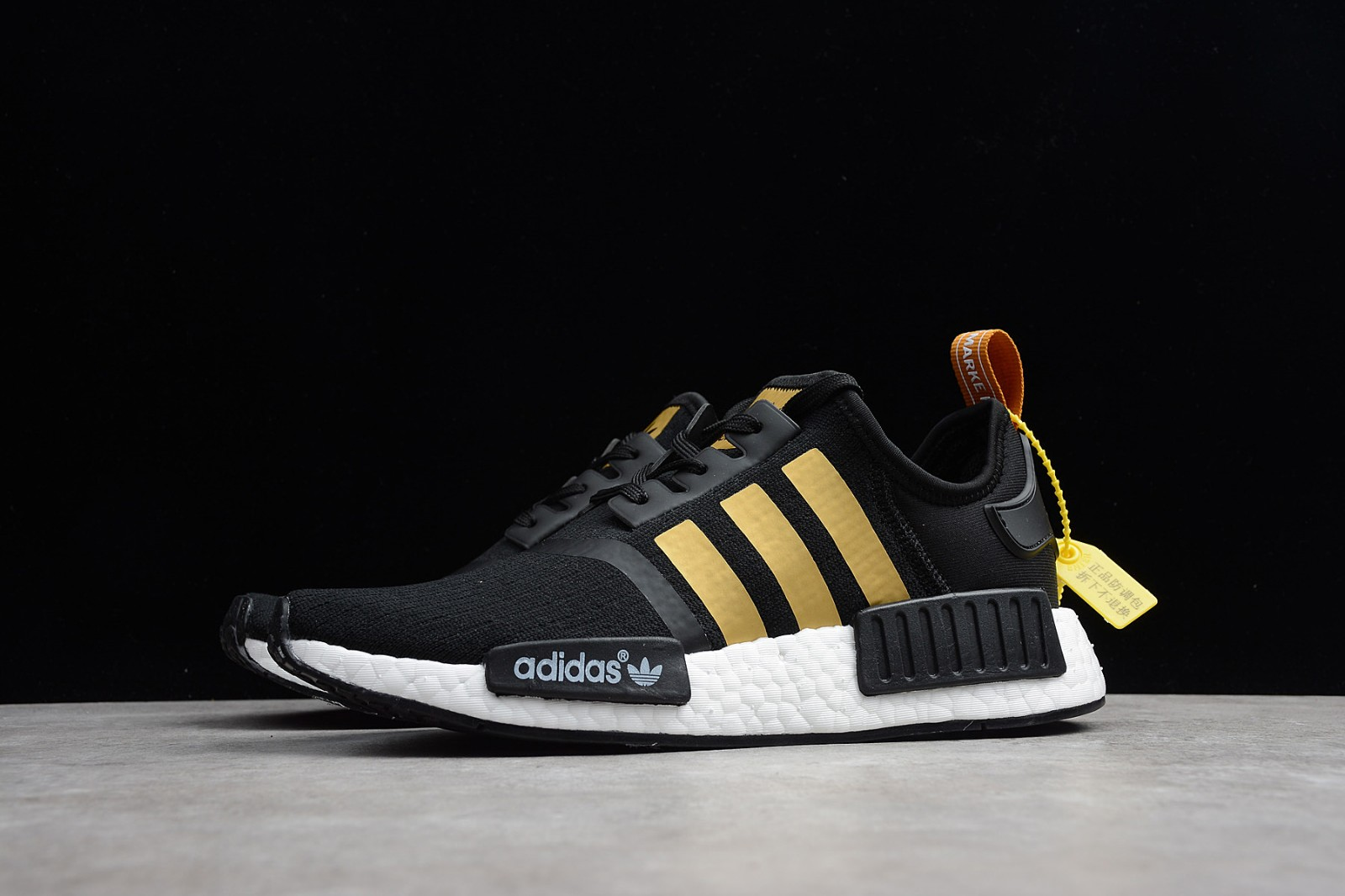 Adidas Nmd R1 Running Shoes Grey Gold Sneakers B37651 Yezshoes