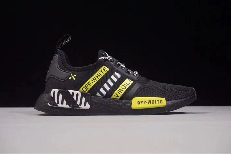 Off White X Adidas Nmd R1 Boost Black White Yellow Ba7787 Yezshoes