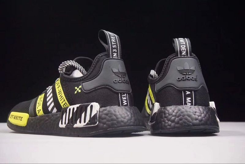 Off White X Adidas NMD R1 Boost Black White Yellow BA7787 - Yezshoes