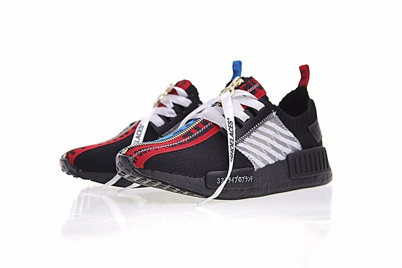 adidas nmd black red and blue